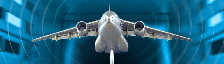 Embraer KC-390 model in wind tunnel